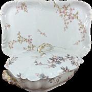 Beautiful Haviland Limoges Porcelain Large Floral Gilt Rectangular Serving Platter and Lidded