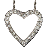 Stunning High Quality Large Brilliant White Diamond Heart Necklace Pendant and 14k Karat Gold