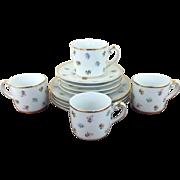 Gorgeous I. Godinger Scattered Floral Porcelain Dessert Plates Mugs Saucers Set For Four