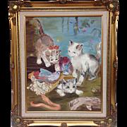"""Kittens Playing"" Original Mid-Century Oil Painting, 16x20"""