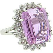 Stunning Large Vintage Estate 20ctw Kunzite and 1.25ctw Diamond Ring