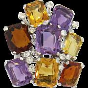 Stunning Mid Century 1950s Platinum Brooch with 0.75ct cttw Diamonds and Gemstones; Amethyst .