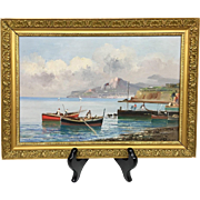 Beautiful Vintage Mid-Century Estate Boating Seascape II Italy Original Oil Painting by Listed