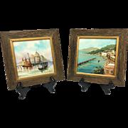 Wonderful Vintage Pair Mid-Century 1950s Original Oil Paintings on Tile Signed by Listed Artis