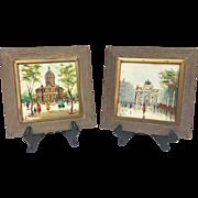 Vintage 1950s Pair Mid-Century Original Antonio DeVity Oil Paintings on Tile Framed