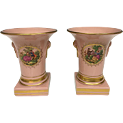 Beautiful Pair of Vintage Estate Pink Paris Porcelain Urns / Vases with Gilt