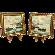 Lovely Pair of Mid-Century Original Oil Paintings by Listed Italian Artist N. Petrilli