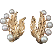 Beautiful Chic Estate Vintage Classic Cultured Pearl and 14k Gold Earrings