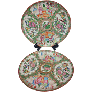Wonderful Antique Pair 19th Century Soft Colors Rose Medallion Famille Rose Plates