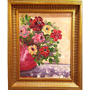 Vertical Pot of Poppies Still Life, Original Oil Painting by Artist Sarah Kadlic, Gilded Wood