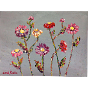 Abstract Wild Poppies Floral on Gray, Original Oil Painting Impasto Flowers, by Artist Sarah .