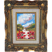 "French Poppies Landscape Original Oil Painting by Artist Sarah Kadlic, 5x7"" Gilt Wood Fra"