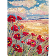 French Country Seascape Abstract Impressionist Original Oil Impasto Painting, 12x16