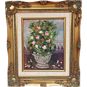 French Topiary Tree in Urn Original Oil Painting by artist Sarah Kadlic, Gilt Wood Frame