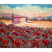 Tuscan Italy Red Poppies Italian Landscape Original Oil Painting, Signed, 24x20