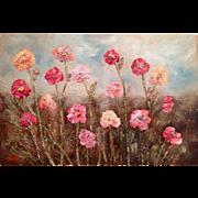 Abstract Floral 36x24 Browns Blues Modern Art Original Oil Painting by Artist Sarah Kadlic