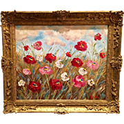 French Wild Poppies Stunning Gilt Wood Frame Original Oil Painting by Artist Sarah Kadlic 24x2