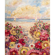 Abstract Impressionist Floral Path Seascape Oil Painting by Artist Sarah Kadlic