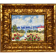 French Riviera Villa & Red Poppies Framed in Gorgeous Larson Juhl Chunky Gilt Frame