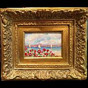 French Riviera Sailboats & Poppies Original Oil Painting by Artist Sarah Kadlic Chunky Gilt ..