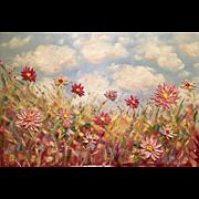 "Abstract Wild Dahlias 36x24"" Original Fine Art Oil Painting by Artist Sarah Kadlic"
