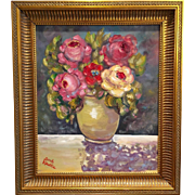 French Vase Poppies 24x28 Original Oil Painting Still Life Flowers Framed in Gilt Larson Juhl