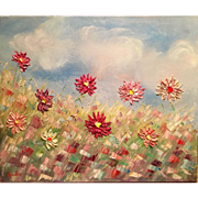 Abstract Wildflowers in the Sunlight Original Oil Painting by Artist Sarah Kadlic 24x20""