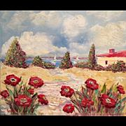 French Riviera Poppies Original Oil Painting by Artist Sarah Kadlic