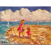 """""""Mother and Children at the Beach"""" Original Oil Painting by Artist Sarah Kadlic"""