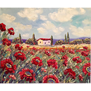 Tuscany Italy Red Poppies Villa Original Oil Painting
