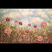 SOLD Abstract Wildflowers Original Oil Painting by Artist Sarah Kadlic