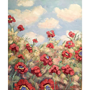 SOLD Wild Poppies Abstract Impressionist Original Oil Painting Fine Art - Red Tag Sale Item