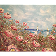 "Pink Seascape Poppies Flowers Beach Shore 24x20"" Original Oil Painting by Artist Sarah Ka"