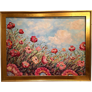 """HUGE Abstract Wild Pink Red Poppies 40x30"""" With Solid Wood Gilt Leaf Frame Plein Aire ..."""