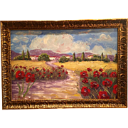 """""""French Provence Red Poppies"""" 36x24 Original Oil Painting Framed in Gilt Wood Carved"""