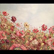 Mauve and Pink Wild Flowers & Poppies Original Oil Painting by Artist Sarah Kadlic