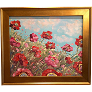 Wild Red and Pink Poppies Original Oil Painting by Artist Sarah Kadlic
