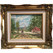"""""""French Village Landscape"""", Original Impressionist Oil Painting with Gilt Frame by a"""