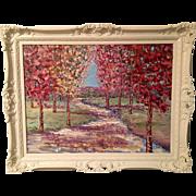 """Fall Abstract Autumn Trees Landscape"", Original Oil Painting by artist Sarah Kadlic"