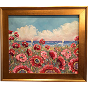 Seascape Red & Pink Poppies with Sailboats, Original Oil Painting with Gilt Wood Frame by Sara