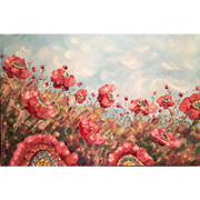 Large Abstract Pink Wild Flowers Floral Original Oil Painting by Artist Sarah Kadlic 36x24