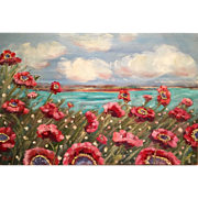 """Abstract Pink Poppies Wild Flowers Original Oil Painting 36""""x24"""" by Artist Sarah Kad"""