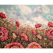 Abstract Wild Flowers Floral Original Oil Painting by Artist Sarah Kadlic