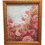"""Abstract Impressionist Vertical Pink Poppies Original Oil Painting 24"""" x 20"""""""