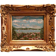 French Seascape, Sailboat in Gilt Hand Carved Wood Frame, Original Oil Painting by artist Sara