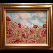 Wild Pink Flowers Original Oil Painting by Artist Sarah Kadlic framed in a Gilt Leaf ...
