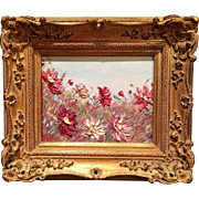 French Wild Flowers Landscape in Gilt Frame, Original Oil Painting by artist Sarah Kadlic.