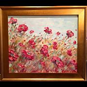 """French Wild Poppies"", Original Oil Painting by artist Sarah Kadlic in Gilt Plein Ai"