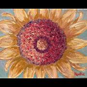 """Abstract Sunflower"", 11x14 Original Oil Painting by artist Sarah Kadlic"