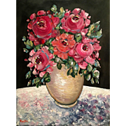"""Wild Flowers Still Life in Vase"", Original Oil Painting by artist Sarah Kadlic"
